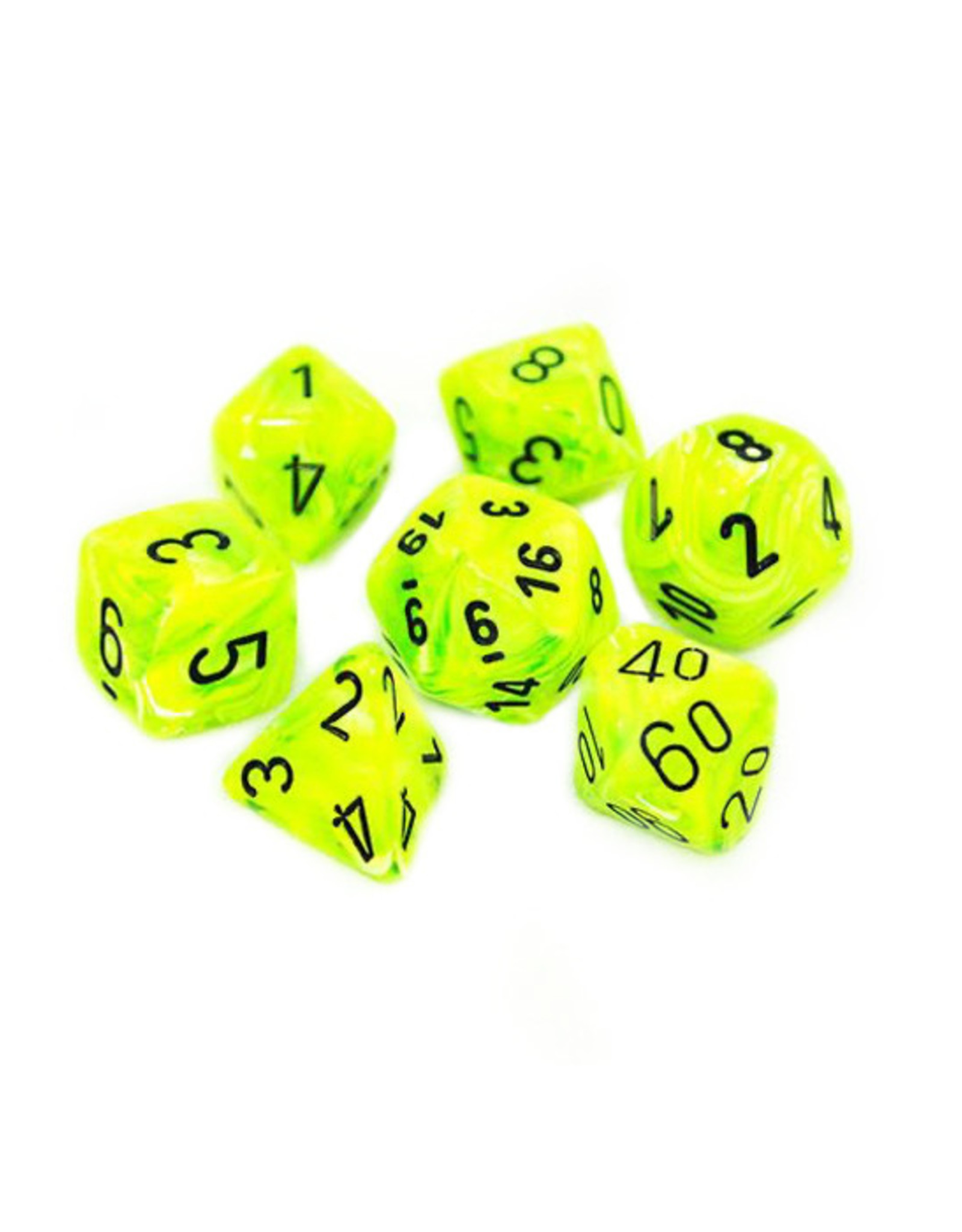 Chessex Chessex: Poly 7 Set - Vortex - Bright Green w/ Black