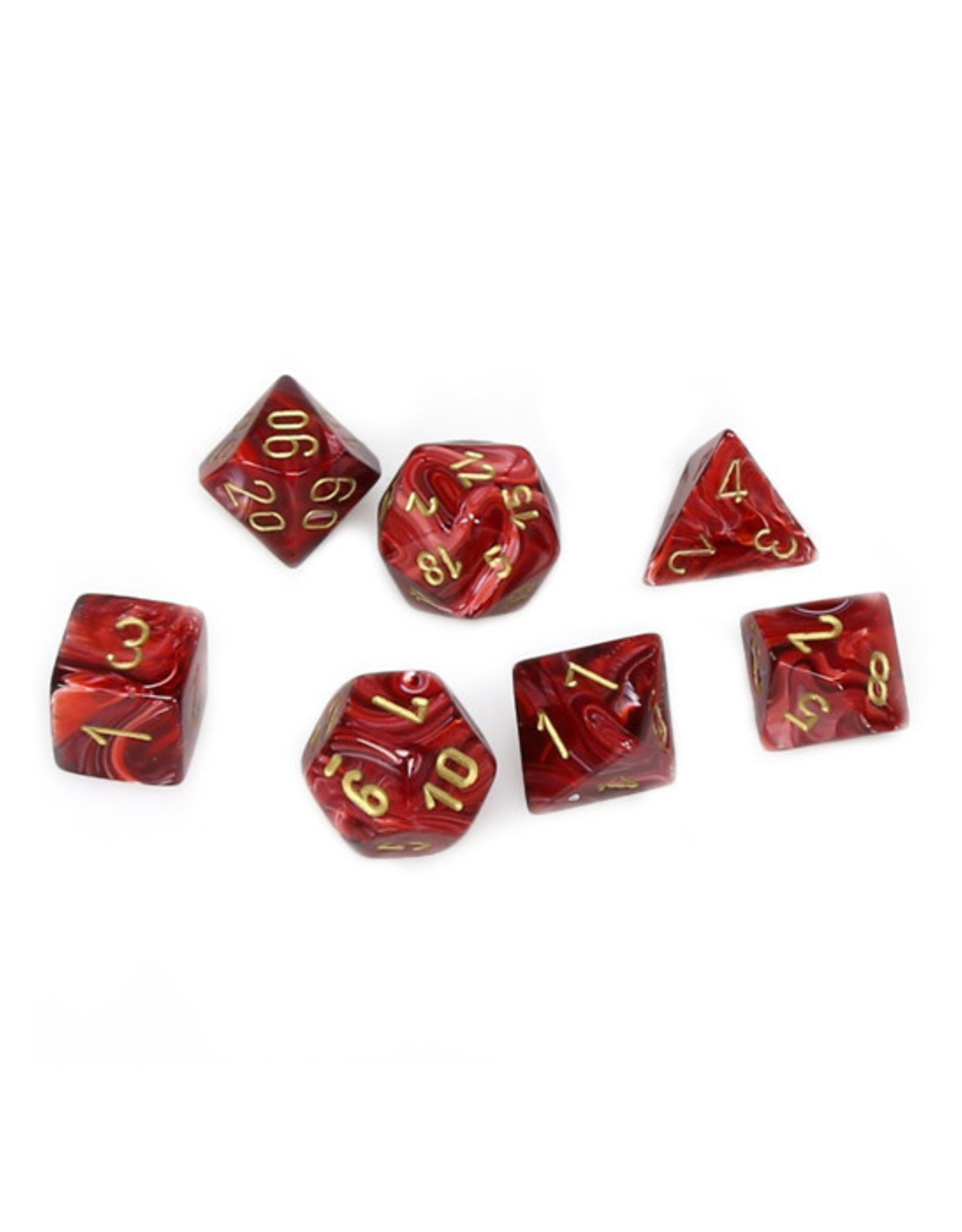 Chessex Chessex: Poly 7 Set - Vortex - Burgundy w/ Gold