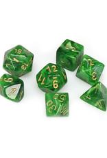 Chessex Chessex: Poly 7 Set - Vortex - Green w/ Gold