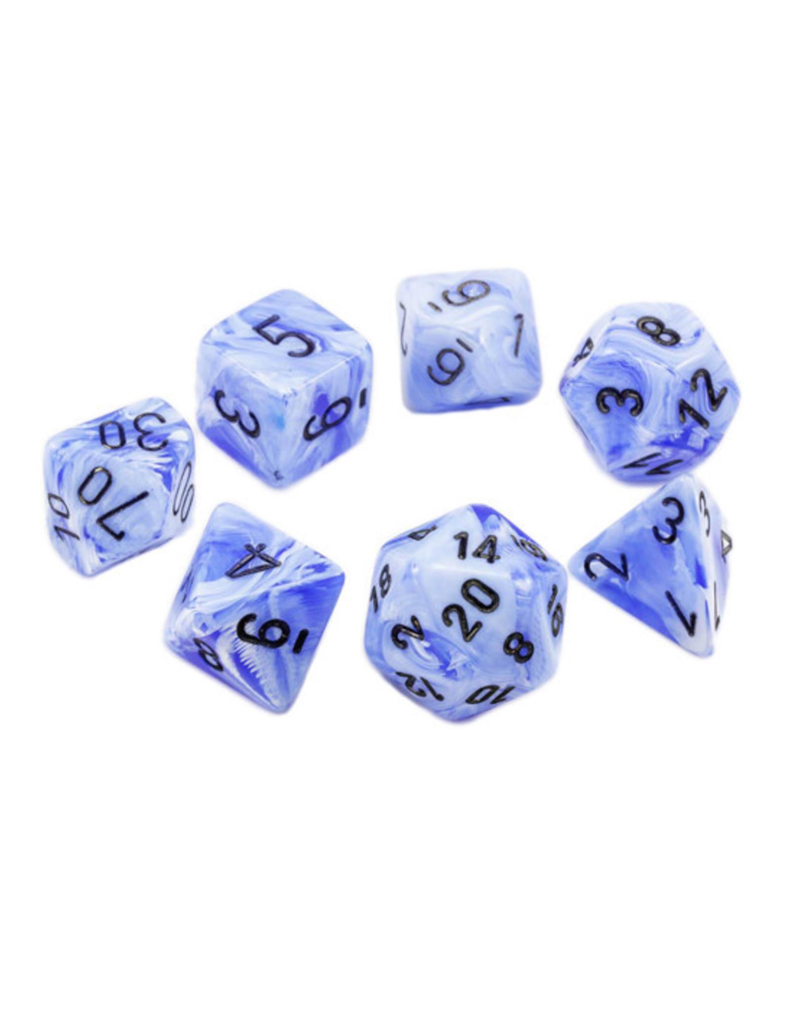 Chessex Chessex: Poly 7 Set - Vortex - Snow Blue w/ Black
