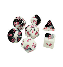 Chessex Chessex: Poly 7 Set - Gemini - Black-White w/ Pink