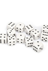 Chessex Chessex: 16mm D6 - Opaque - White w/ Black