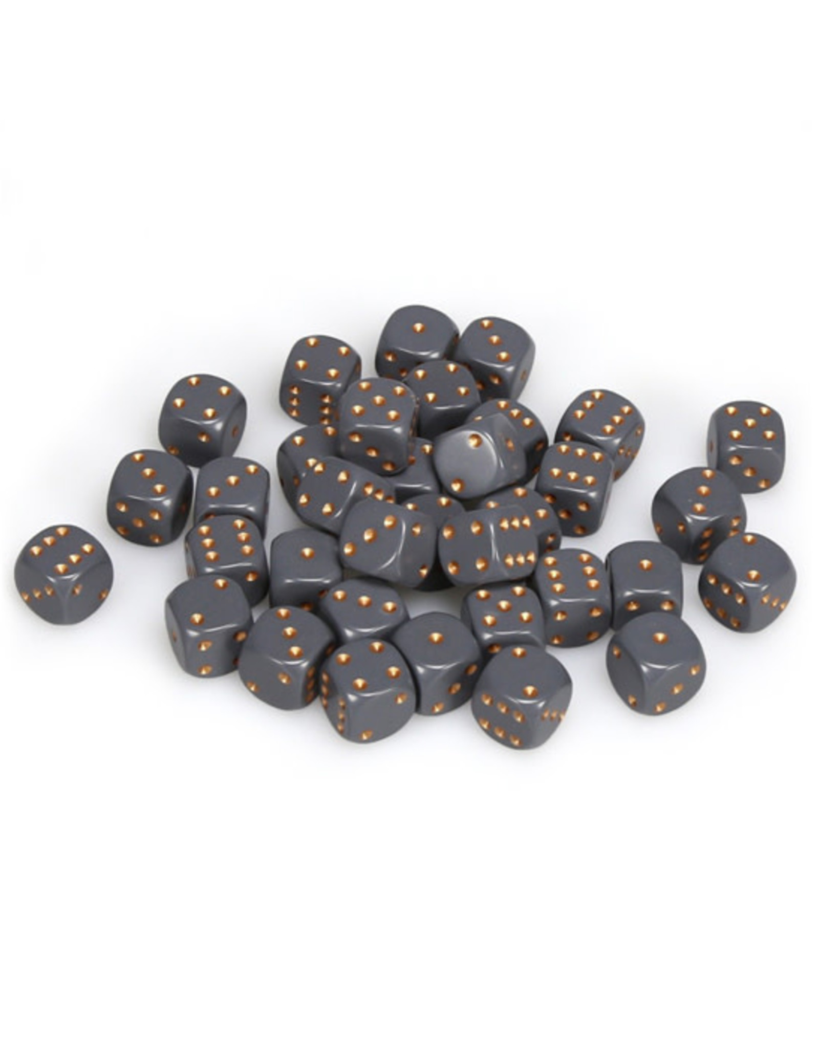 Chessex Chessex: 12mm D6 - Opaque - Dark Grey w/ Copper