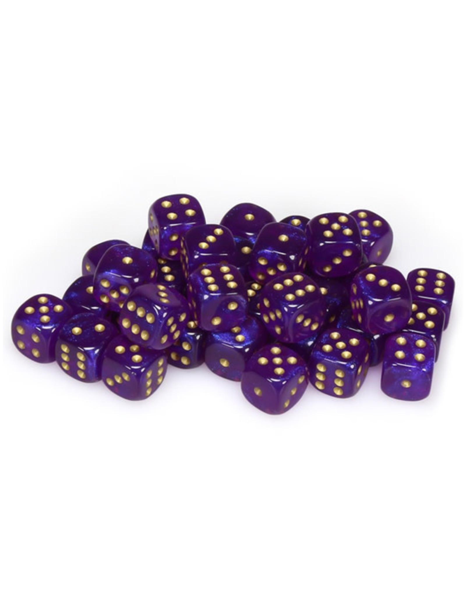 Chessex Chessex: 12mm D6 - Borealis - Royal Purple w/ Gold