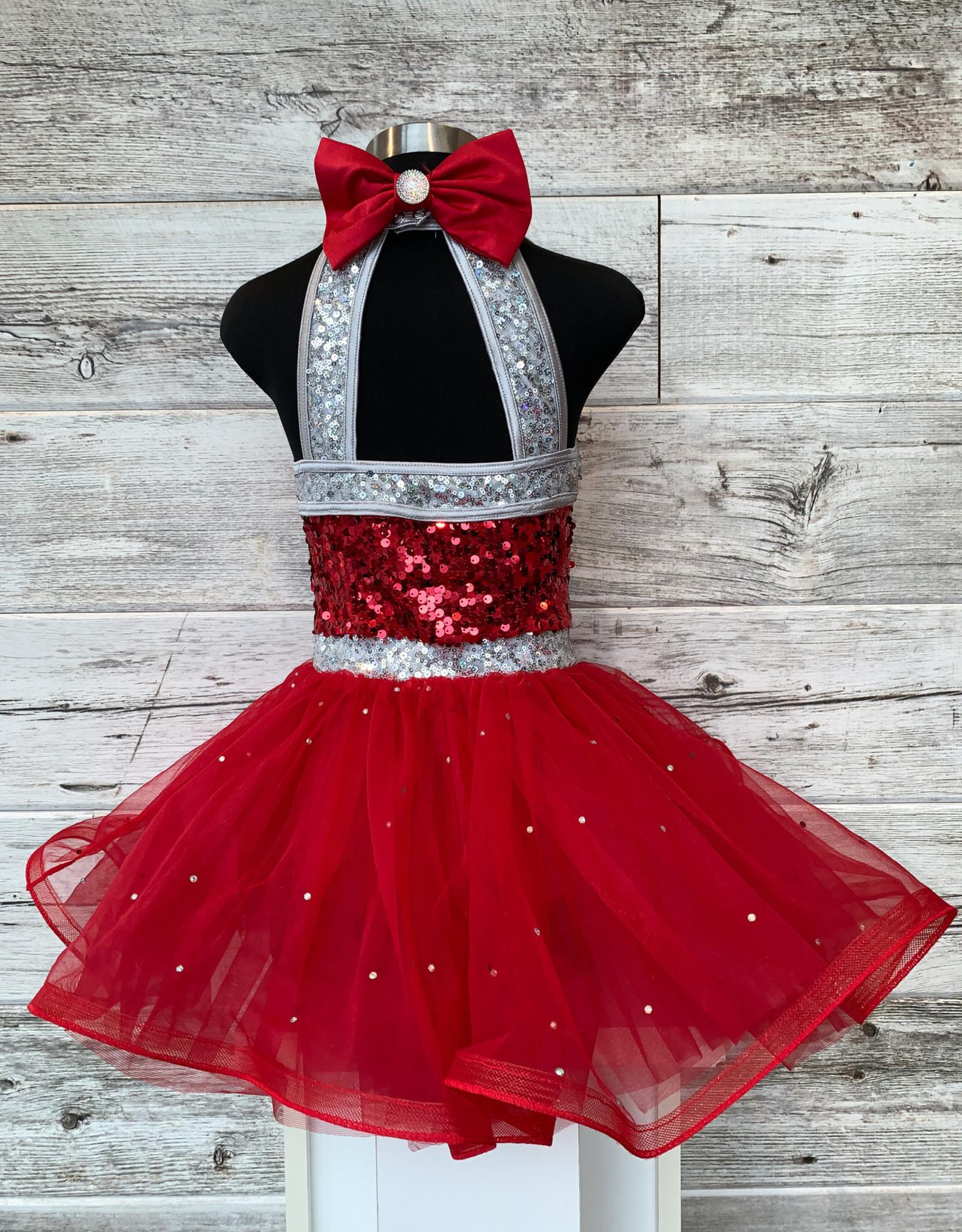 Costume Robe Paillette Rouge et Argent (IC 7-8)