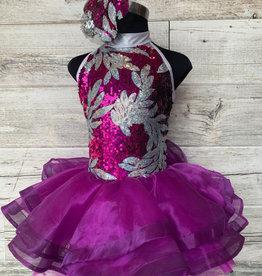 Costume Robe Mauve Paillette Argent (IC 6X-7)