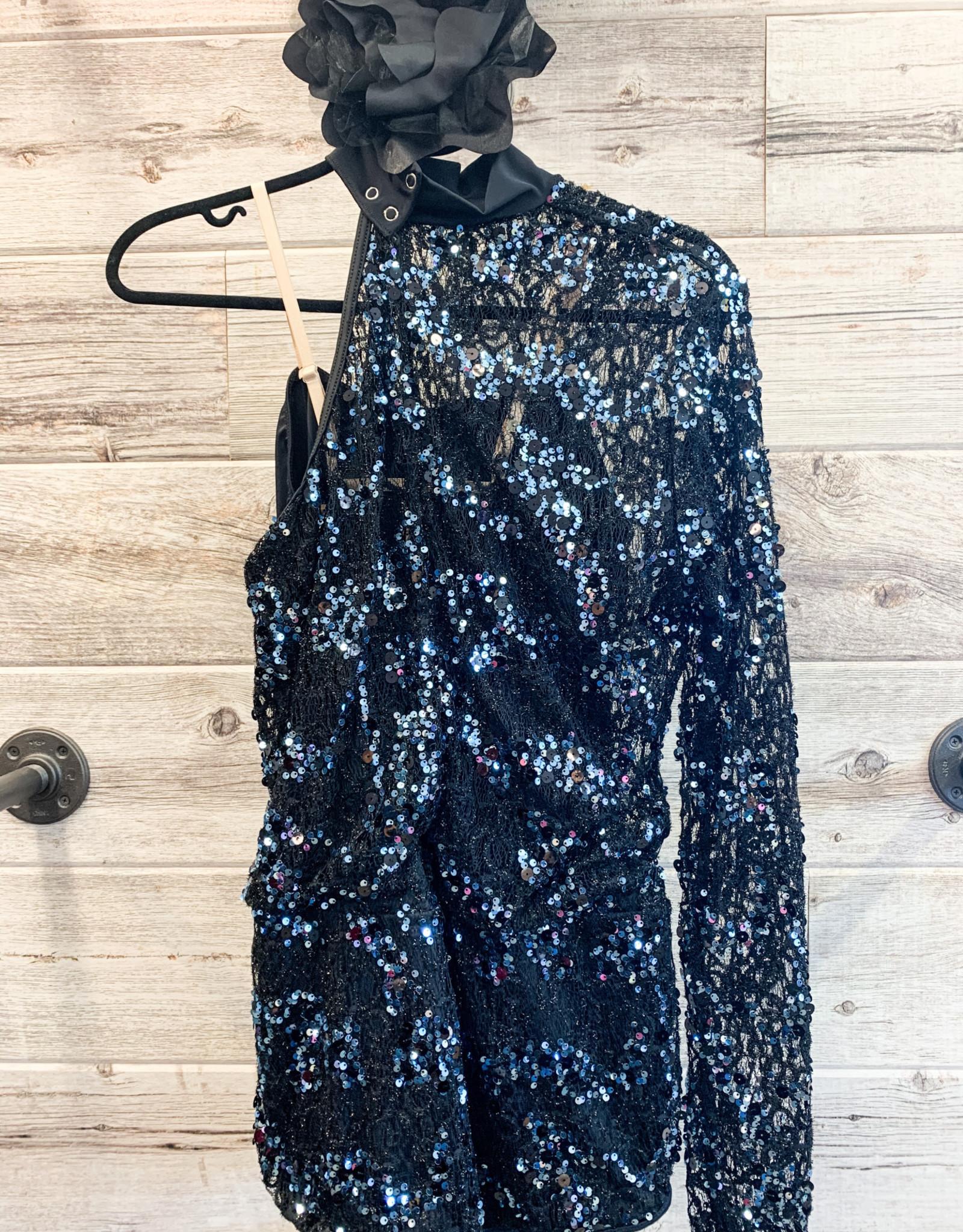 Costume Noir Short Paillette Bleuté (Xlarge)