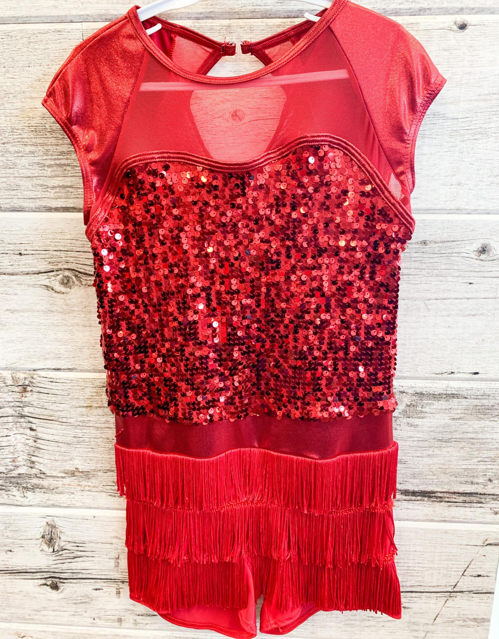 Costume Manche Courte Rouge à Frange et Paillette ((XL JR)