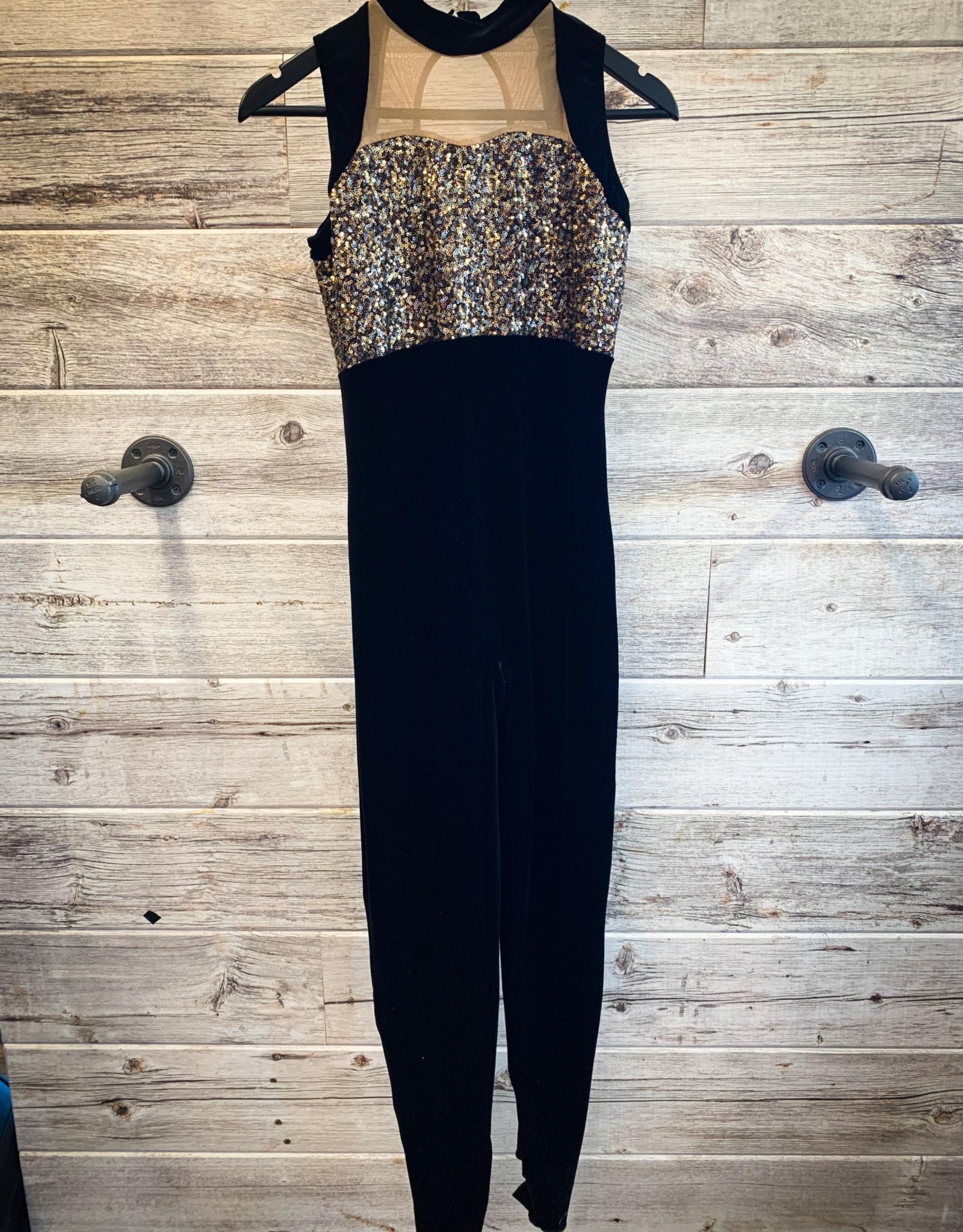 Costume Jumpsuit Velour Noir Avec Paillette Or (Large)