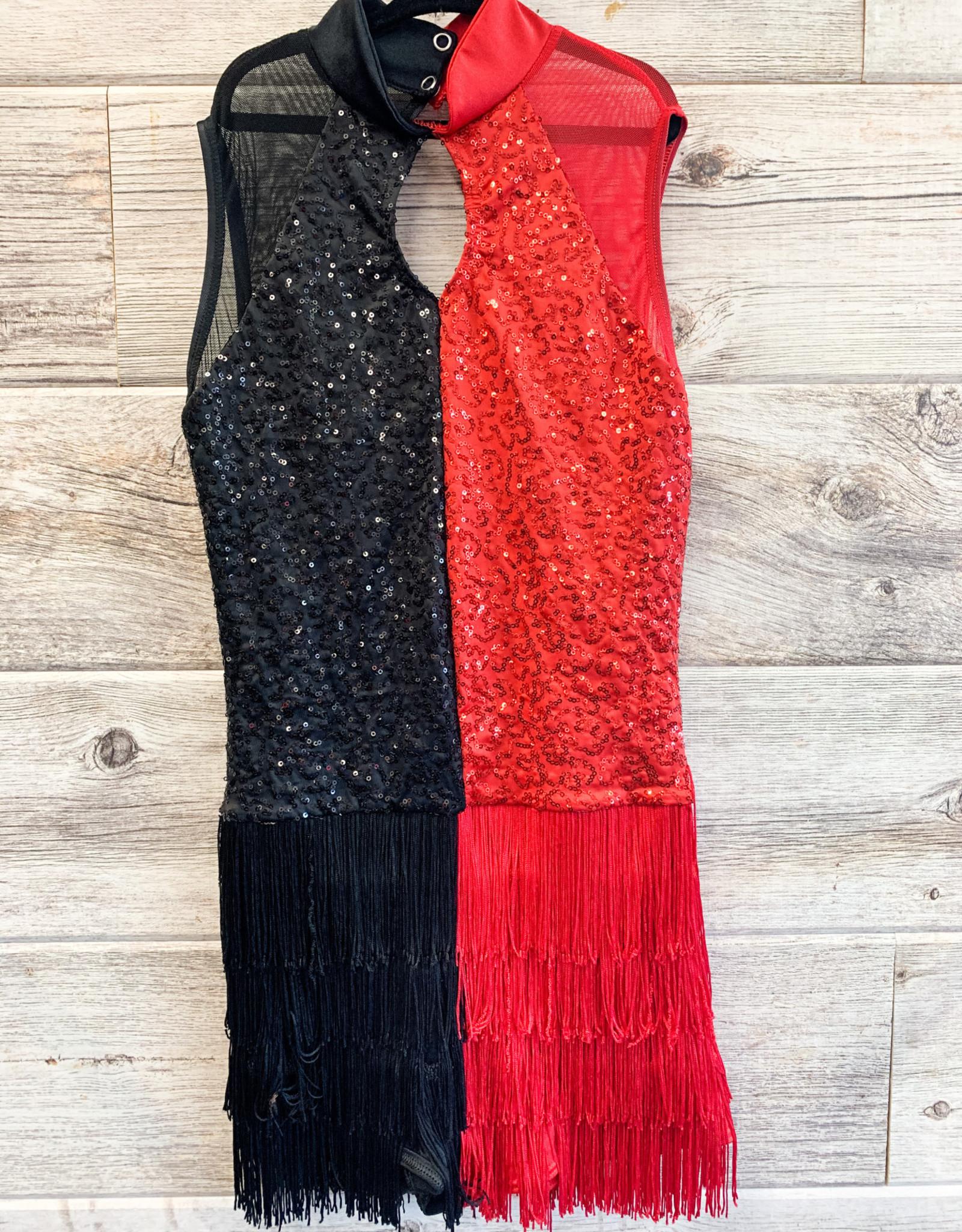 Costume Robe Noir et Rouge à Frange et Paillette (Médium)
