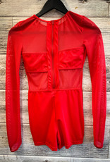 Costume One Piece Rouge Filet Avec Short (Small)