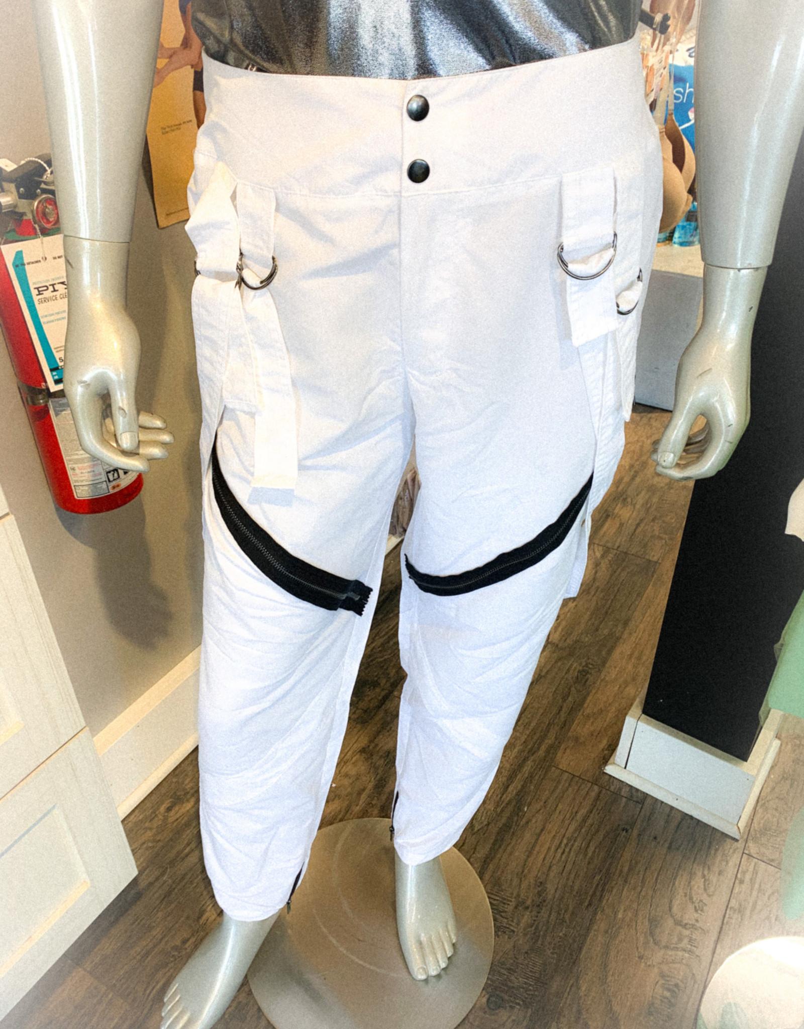 Pantalon Blanc Avec Bretelles Et Zipper (Large)