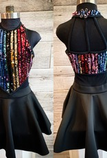 Costume paillettes multicolores Avec jupe Small AD