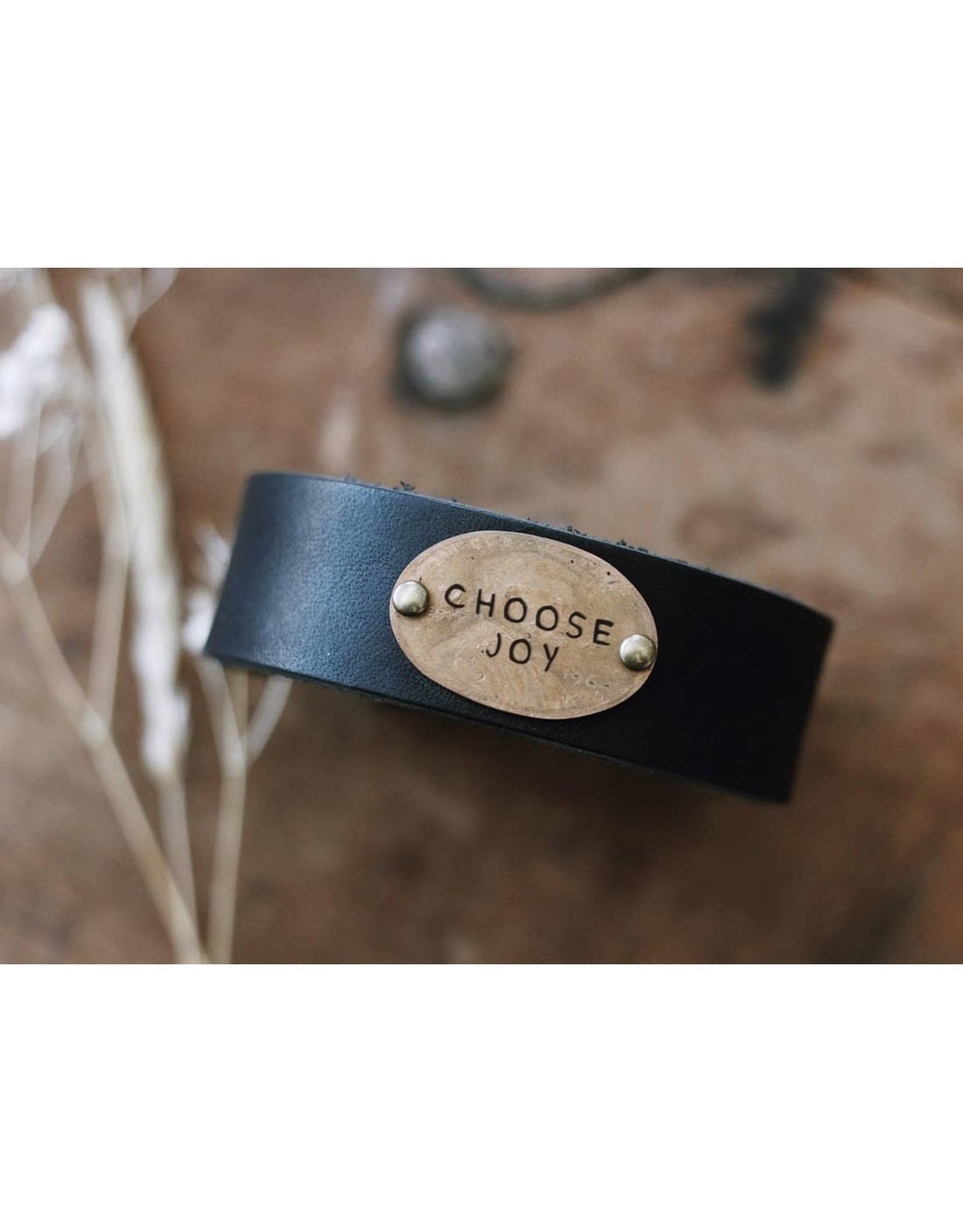 Traveling Penny Choose Joy Leather Cuff Bracelet