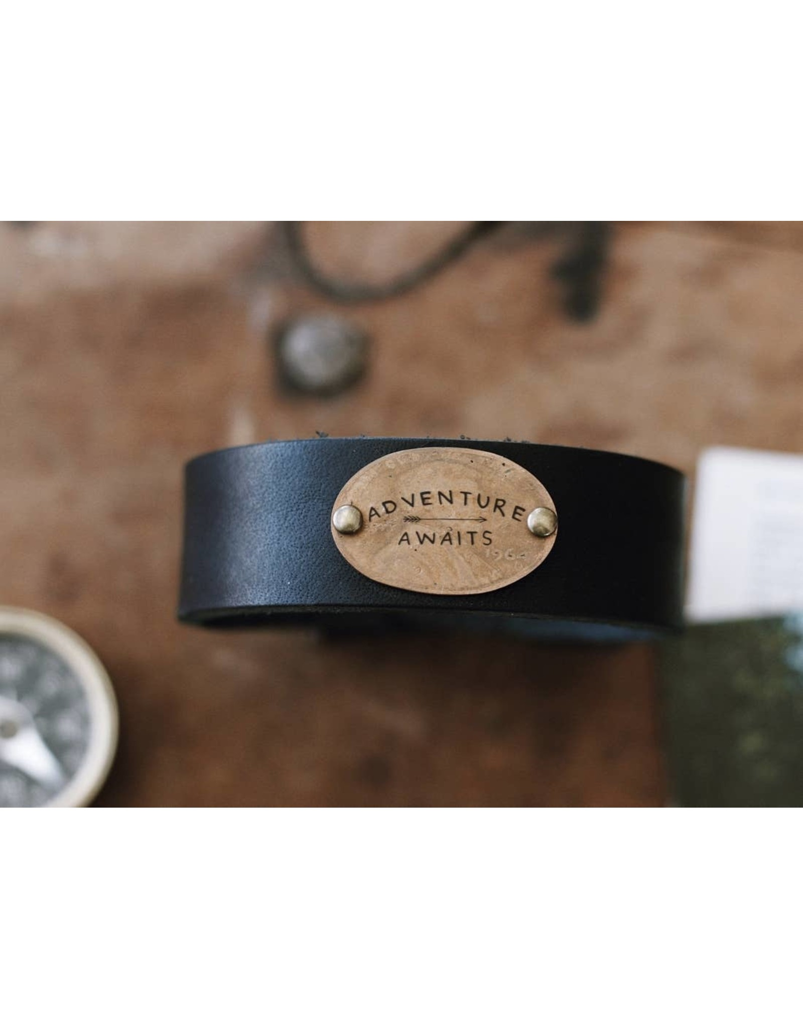 Traveling Penny Adventure Awaits Leather Cuff Bracelet