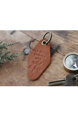 Traveling Penny All Good Things Are Wild Leather Keychain - Natural Brown