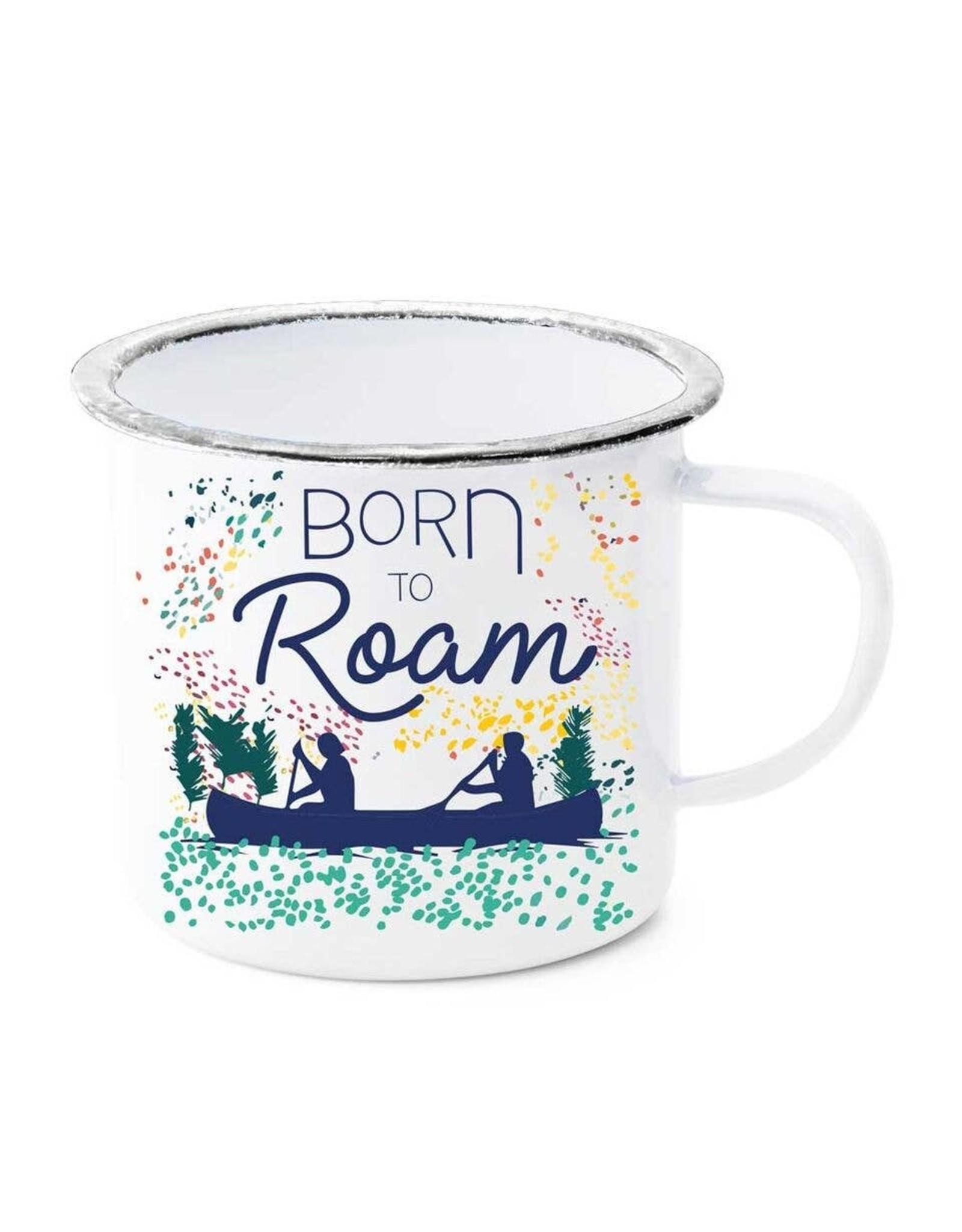 Born to Roam Canoe Enamel Mug