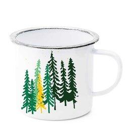 Tall Trees and Moon Enamel Mug