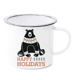 Happy Holidays Bear Enamel Mug