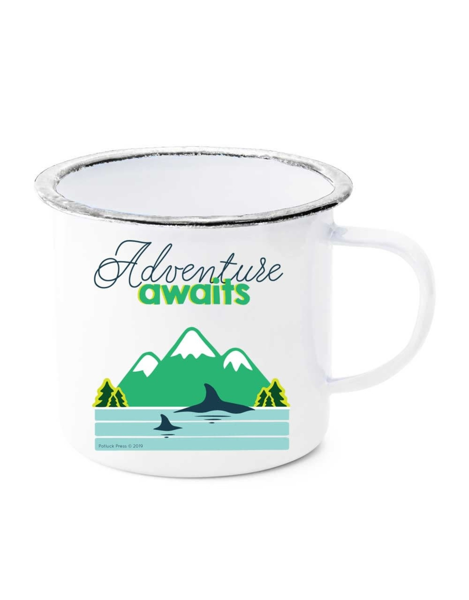 Adventure Awaits Whales & Mountains Enamel Mug