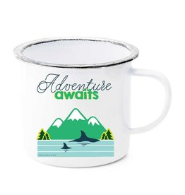 Adventure Awaits Whales & Mountains Enamel Mug