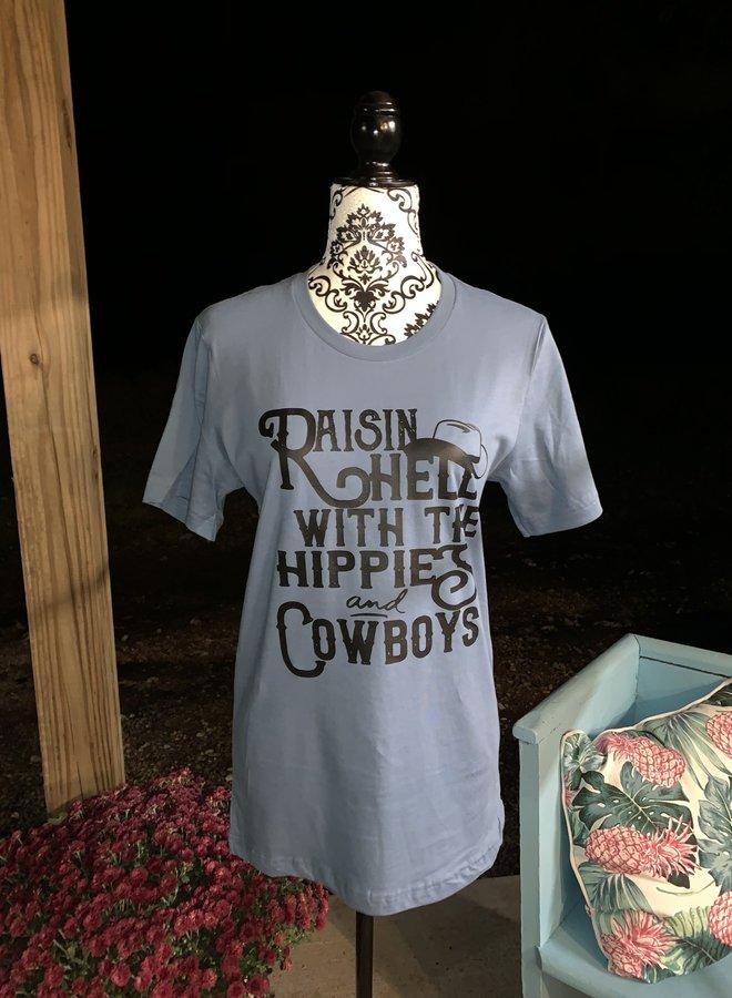 Raisin Hell with Hippies & Cowboys Tee