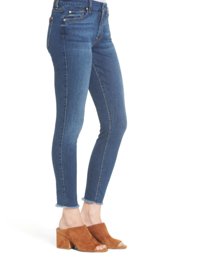 7 For All ManKind b(air) Raw Hem Ankle Skinny Jeans