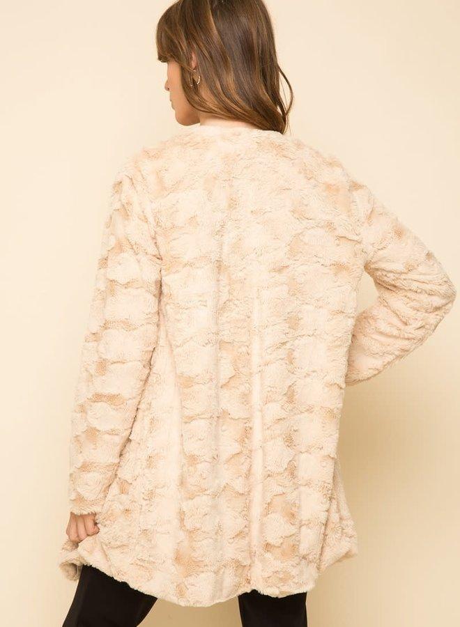 Front Drape Fur Midi Jacket