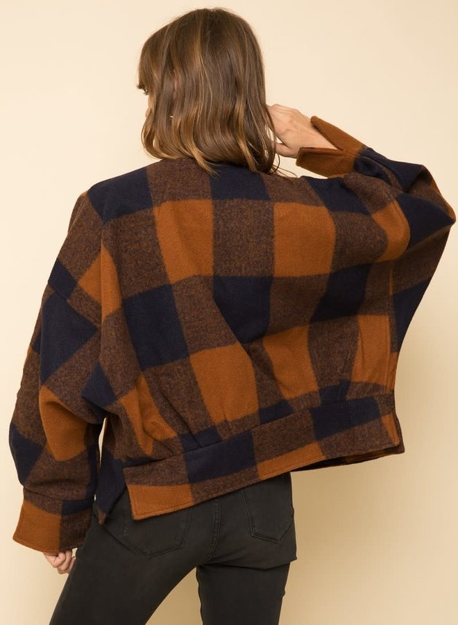 Oversized & Open Front Plaid Jacket
