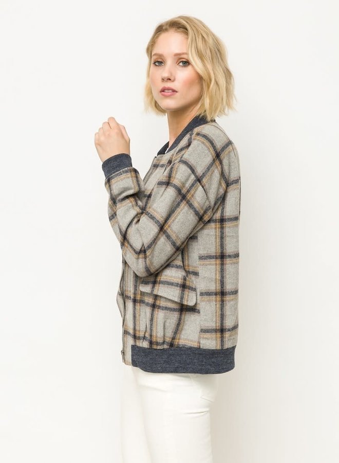 Plaid Zip Up Bomber Jacket