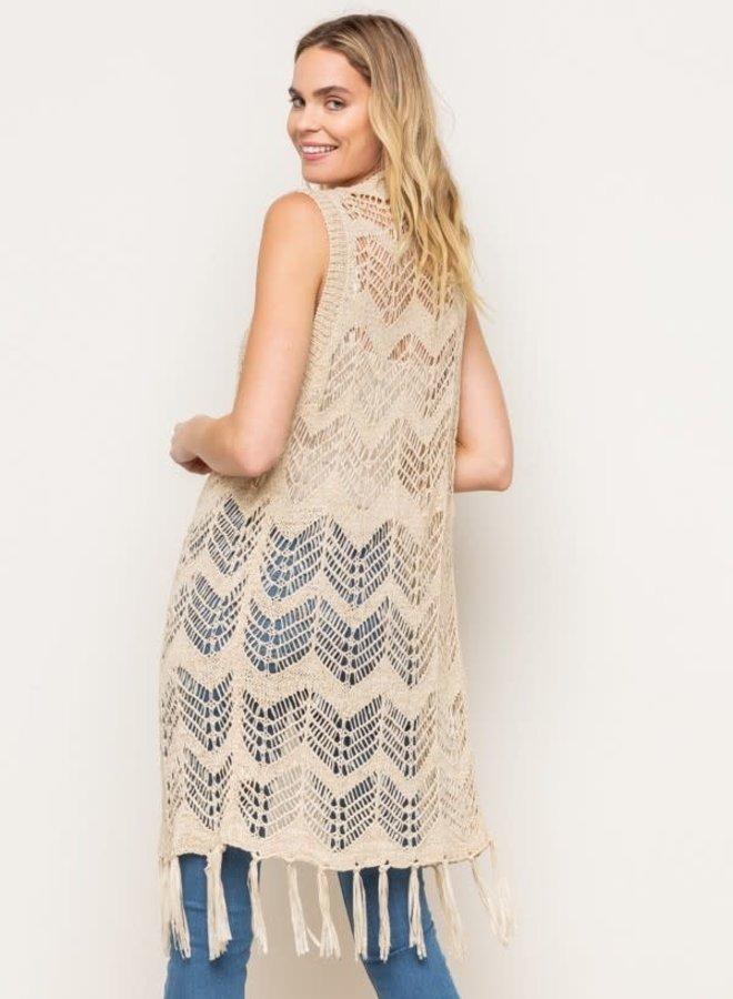 Boho Lace Vest with Fringe