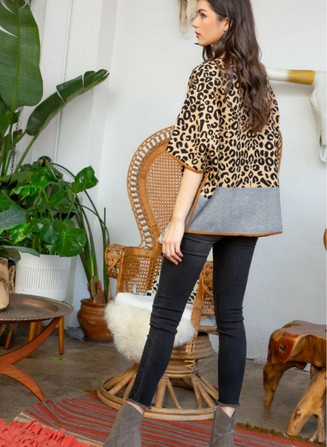 Leopard Print Knit Poncho