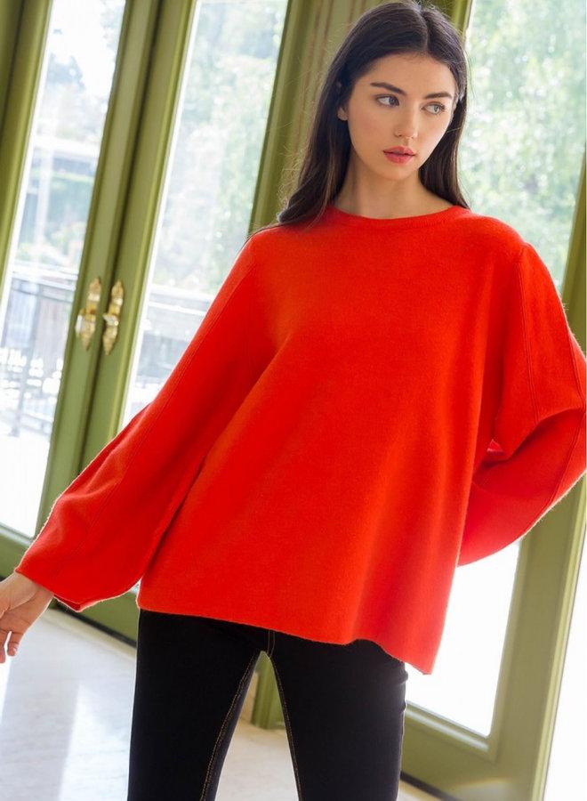 Crewneck Bubble Sleeve Sweater