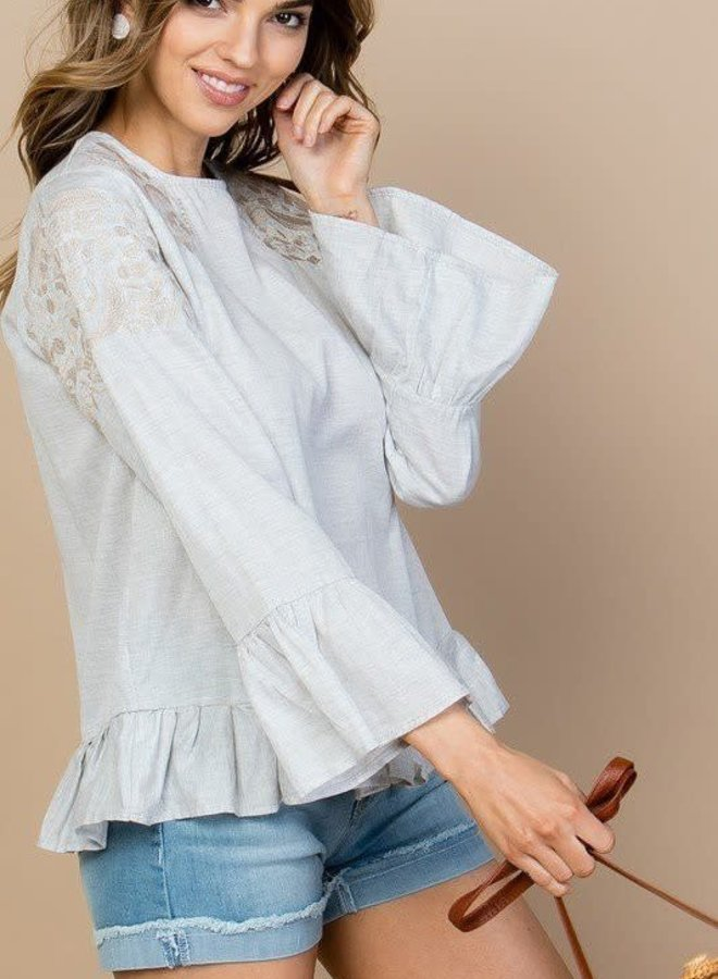 Sequoia Foothills Lace Shoulder Ruffle Top