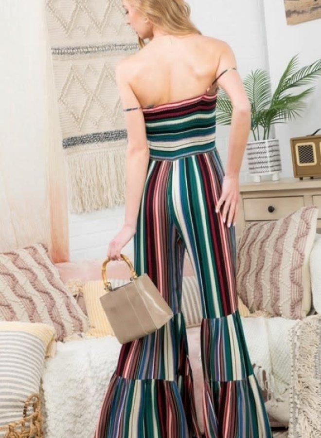 Bogata Betty Wide Leg Striped Jumpsuit