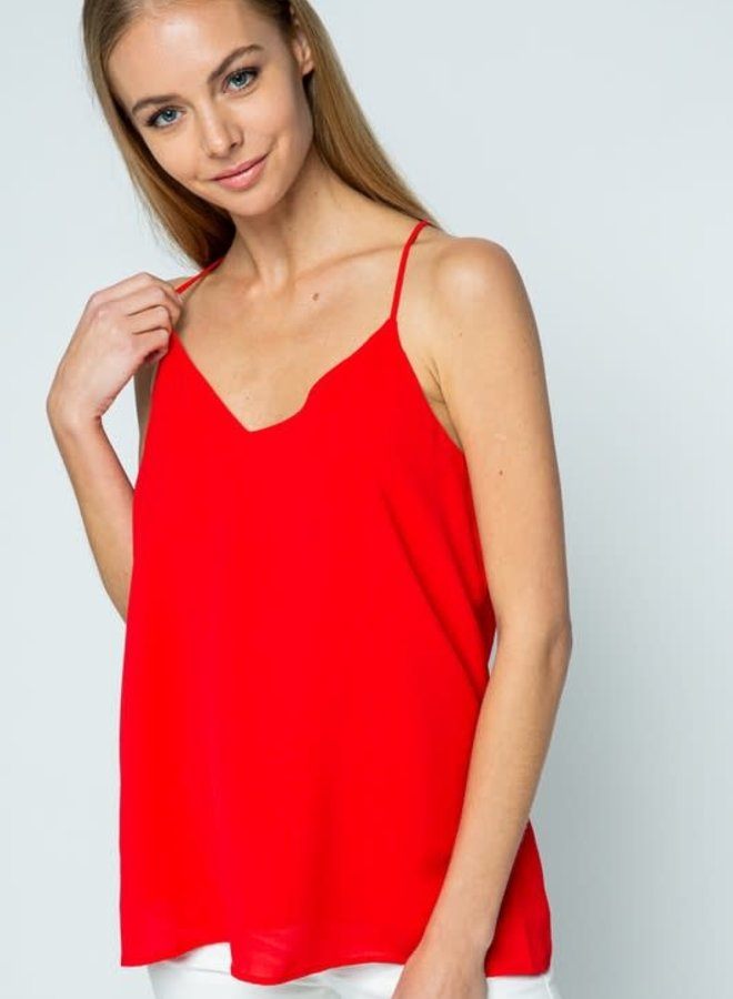 Phoebe Classic Solid Woven Racer Back Tank