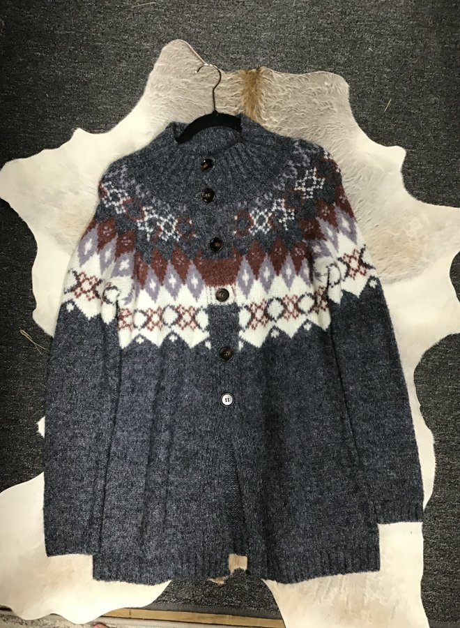 Folded Neck Charcoal Button Cardigan
