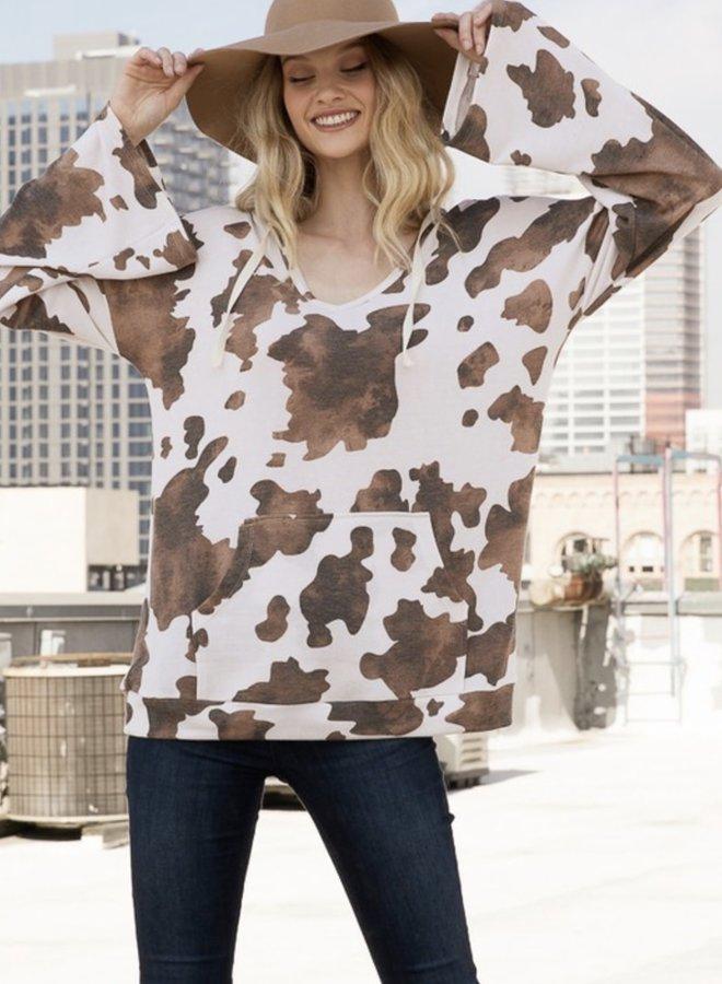 Dramatic long sleeve cow hoodie