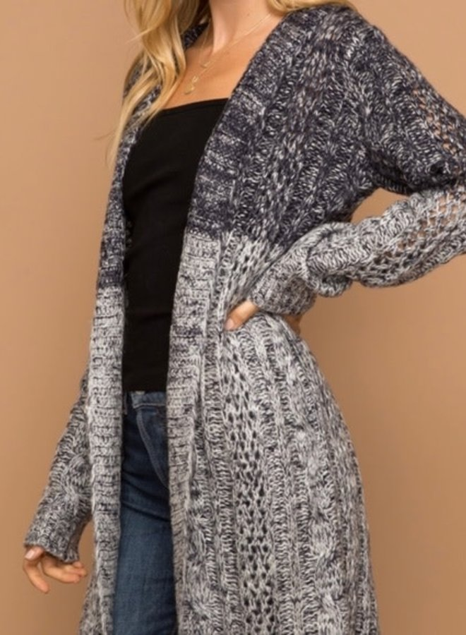 Navy & Grey Long Cardi