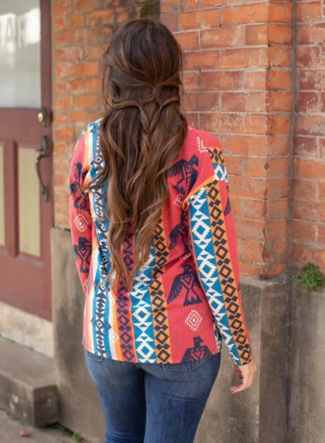 Too Far From Texas Oversized Print Drop Shoulder Cardi