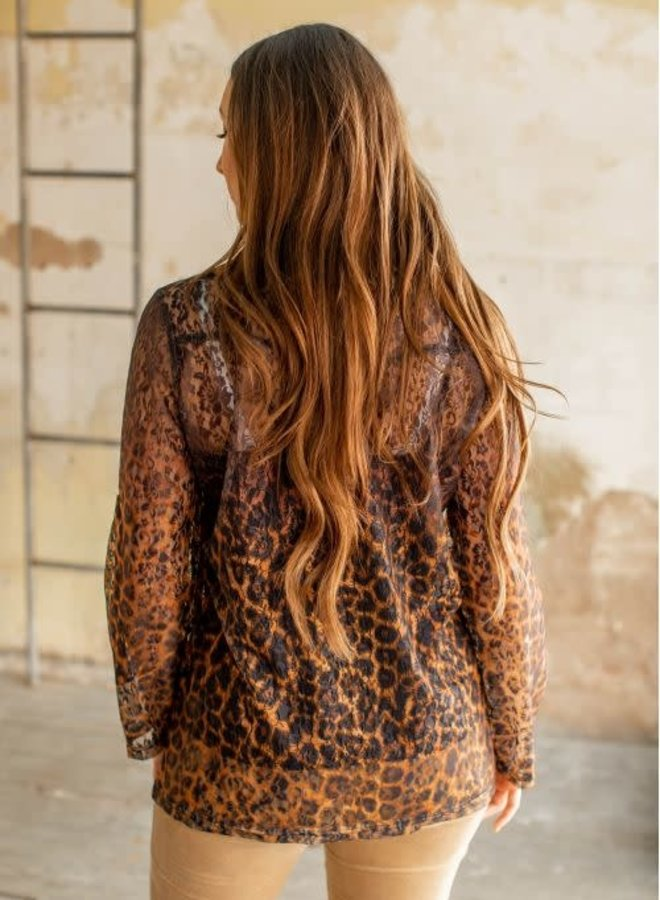 The No Questions Asked Leopard + Lace Sheer Button Down