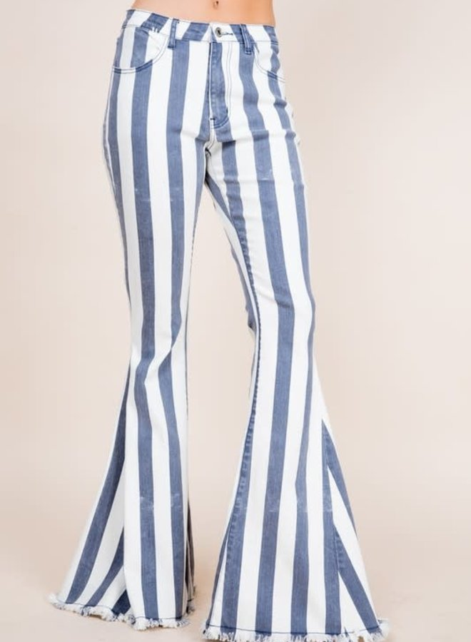 The Mule Skinner Blues Denim and White Stripped Super Bells