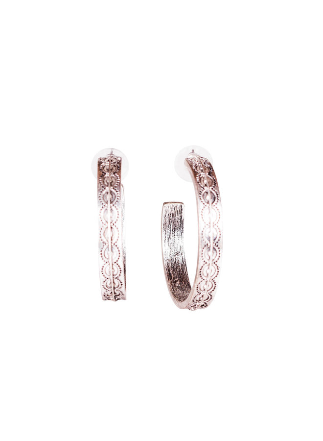 The Riverdale Stamped Burnished Silver Hoops