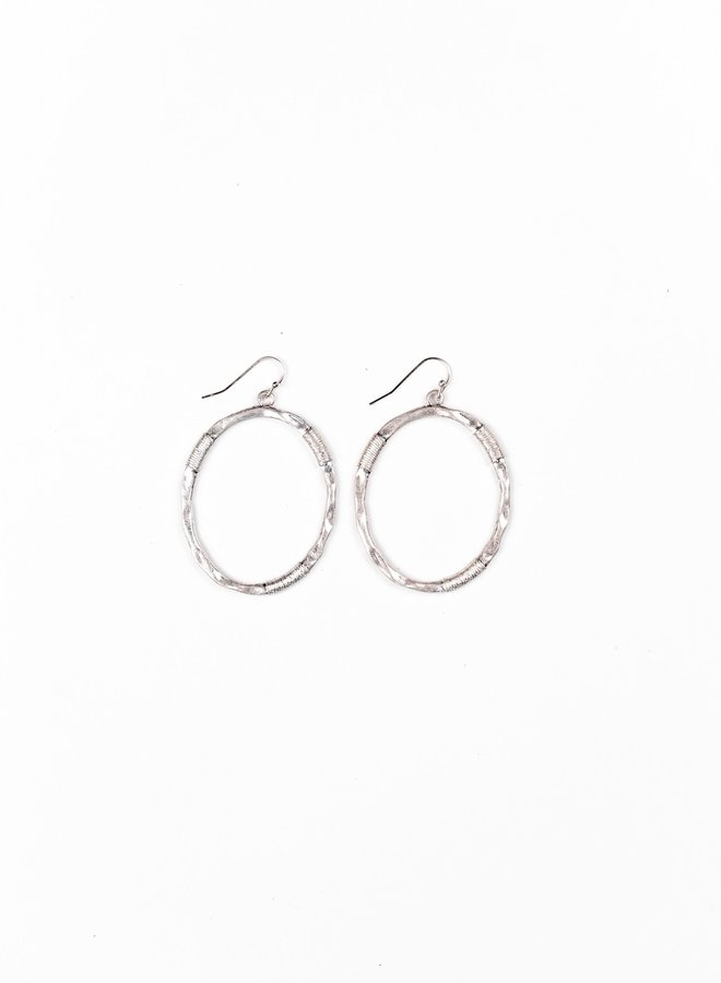 The Mesa Burnished Silver Dangle Hoops
