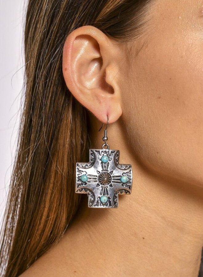 The Tulsa Tribal Cross Dangle Earrings