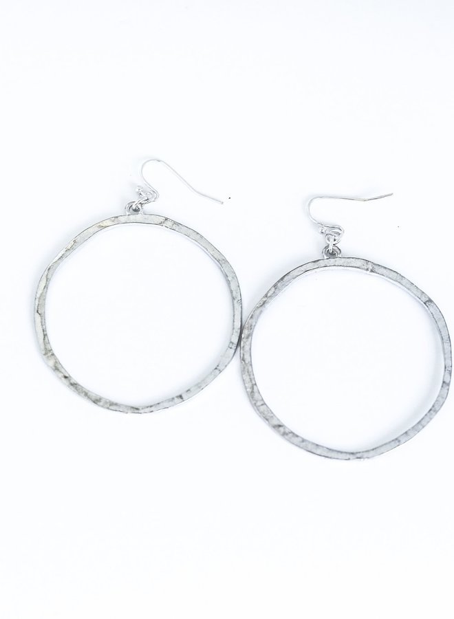 The McDonough Hammered Outline Dangle Hoops