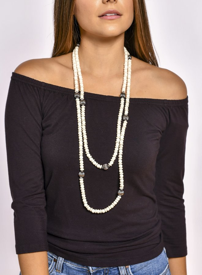 The Dove Bone Stones and Faux Navajo Pearl Necklace