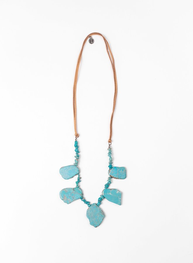 The Griffin Chunky Turquoise and Leather Necklace