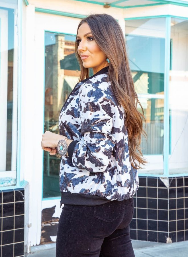 The Sin Wagon Sequin Cow Hide Bomber