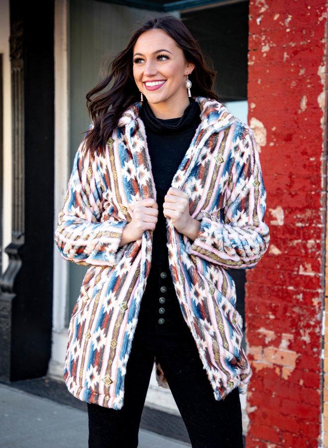 The Tequila Sheila Muted Aztec Fleece Coat